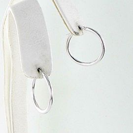 "New Roberto Coin ""Perfect"" Hoop Earrings 25mm 18k White Gold 556025AWER00"