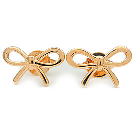 Authentic Tiffany&Co. Ribbon Bow Earrings K18 750 Rose Gold Used F/S
