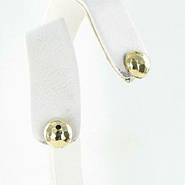 John Hardy Classic Chain Hammered 11mm Stud Earrings 18K Gold Sterling Silver