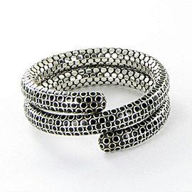 New John Hardy Double Coil Dot Black Enamel Bracelet Sterling Silver BN33716BLX