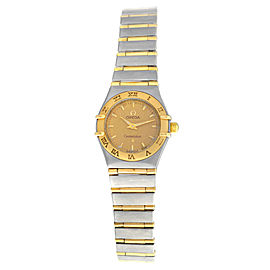 Ladies Omega Constellation 795.1203 Full Bar 18K Gold 22MM Quartz Watch
