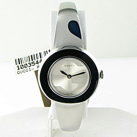 Gucci YA129502 U-Play Removable Bezel Silver Dial Ladies Watch 35mm