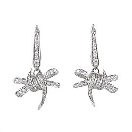 Stephen Webster Forget Me Knot 18K White Gold with 0.49ct Diamond Pave Dangle Earrings