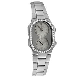Ladies Philip Stein Teslar 2 Time Zone Steel Diamond 27MM Quartz Watch