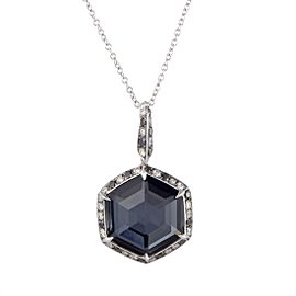 Stephen Webster Deco 18K White Gold with Diamond Hematite and Quartz Hexagonal Pendant Necklace