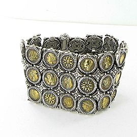 Konstantino Kerma Mini Coin 3 Row Bracelet Bronze Sterling Silver 43mm Wide 7""