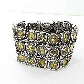 "Konstantino Kerma Mini Coin 3 Row Bracelet Bronze Sterling Silver 43mm Wide 7"""