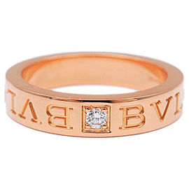 Auth BVLGARI Double Logo Ring 1P Diamond K18 Rose Gold US5.5-6 EU51 Used F/S
