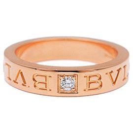 Auth BVLGARI Double Logo Ring 1P Diamond K18 Rose Gold US5.5-6 EU51 Used F/S