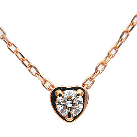 Auth Cartier Diamants Légers Heart Necklace 1P Diamond 0.13ct K18PG Used F/S