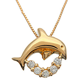 Authentic Dolphin Charm 5P Diamond 0.10ct Necklace K18 750 Yellow Gold Used F/S
