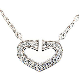 Authentic Cartier C Heart Diamond Necklace K18WG 750 White Gold Used F/S