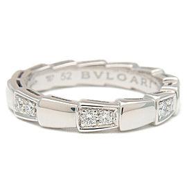 Auth BVLGARI Serpenti Viper Ring Half Diamond White Gold #52 US6 EU52 Used F/S