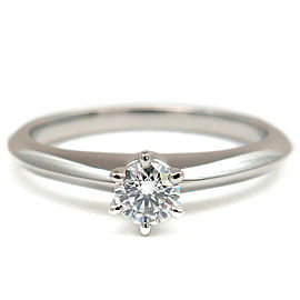 Auth Tiffany&Co. Solitaire Diamond Ring 0.18ct Platinum US4.5 EU48 Used F/S