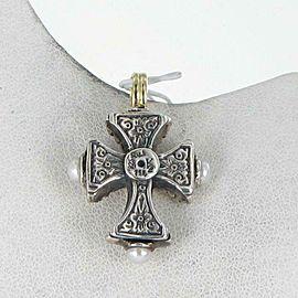 Konstantino Kassandra Pearl Cross Pendant Sterling Silver 18k Gold STKJ305-122