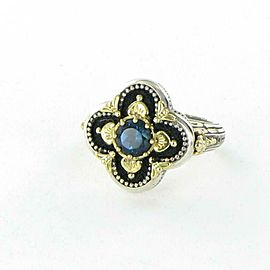 Konstantino Quatrefoil Ring London Blue Topaz Enamel Sterling Silver 18k Gold