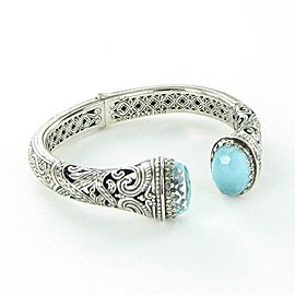 Konstantino Aegean Hinged Cuff Bracelet Filigree Sterling Turquoise Crystal