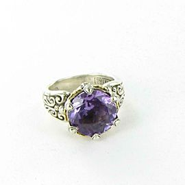 Konstantino Hermione Round Amethyst Ring Sterling 18k Gold Large Bezel sz 5.5