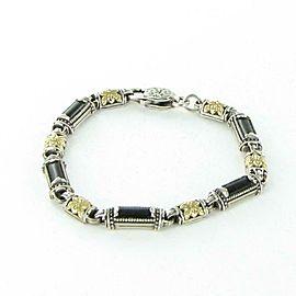 """Konstantino Ismene Glossed Black Agate Link Bracelet Sterling 18K Gold 7.5"""""""