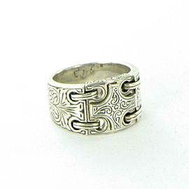 Konstantino Sterling Silver Classics Engraved Cross Mens Ring 15mm Band Size 10
