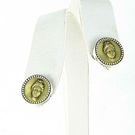 Konstantino Kerma Coin Arethusa Round Earrings Clip On Framed Sterling Silver
