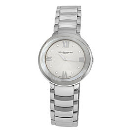 Ladies' Baume & Mercier Promesse 10158 Steel MOP Diamond Quartz 34MM Watch
