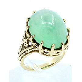 ESTATE 14k Yellow Gold Oval Green Jade Ladies ring 8.9 Grams Size 5.5