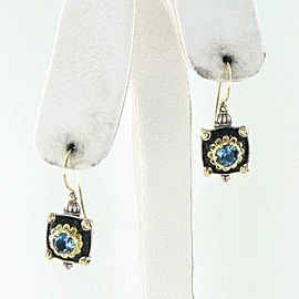Konstantino Nemesis Square Petite Earrings London Blue Topaz Sterling 18K Wire