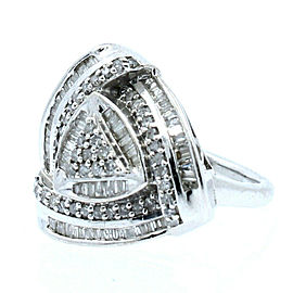 Sterling Silver Bagguetts Round Diamond Ladies Ring
