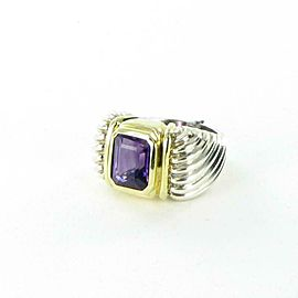 David Yurman Cable Ring Faceted Amethyst 11mm x 8mm Sterling 18K Gold Sz 7
