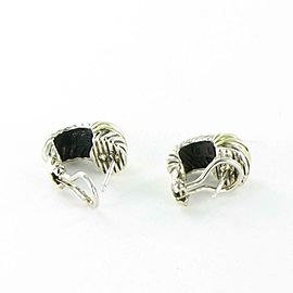 David Yurman Cable Shrimp Earrings Sterling Silver 14K Gold Omega Back