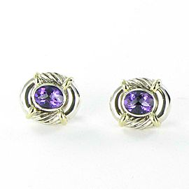 David Yurman Oval Cable Amethyst Earrings Huggie Sterling 14K Gold Omega Backs