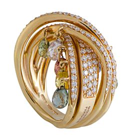 Giovanni Ferraris 18K Yellow Gold 4.00ctw Sapphire & 1.15ctw Diamond Dangling Briolette Band Ring Size 7.5