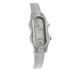Ladies Philip Stein Teslar 2 Time Zone Steel Diamond MOP 19MM Quartz Watch