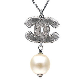 Authentic CHANEL Coco Mark Swing Imitation Pearl Necklace Silver 13S Used F/S