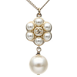 Authentic CHANEL Coco Mark Flower Imitation Pearl Necklace A85389 Used F/S