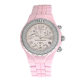 Ladies TechnoMarine Techno Pink DTCP07C Chrono Diamond 39MM Ceramic Quartz Watch