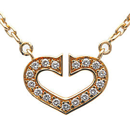 Authentic Cartier C Heart Diamond Necklace K18YG 750 Yellow Gold Used F/S