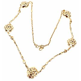 Chanel Lion Five Station 18k Yellow Gold Link Necklace