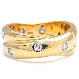 Auth Tiffany&Co. Dots Twist Ring 12P Diamond 750YG×PT950 US4.5 EU48 Used F/S