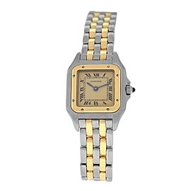 Ladies' Cartier Panthere 166921 Steel 18K Yellow Gold Two Row 22MM Quartz Watch