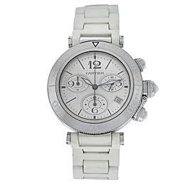 Unisex Cartier Pasha 3129 Steel Date Quartz Chronograph 38MM Watch