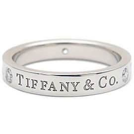 Authentic Tiffany&Co. Flat Band 3P Diamond Ring Platinum 950 US4 EU47 Used F/S
