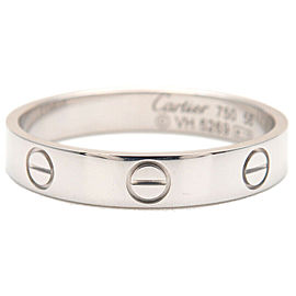 Authentic Cartier Mini Love Ring White Gold K18 #58 US8.5 HK19 EU58.5 Used F/S