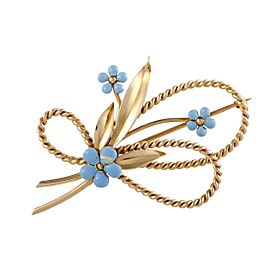 Cartier 14K Yellow Gold with Turquoise Floral Brooch