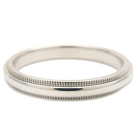 Authentic Tiffany&Co. Milgrain Band Ring 3mm Platinum US9 HK20 EU59.5 Used F/S