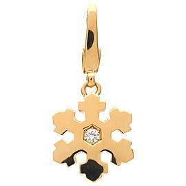 Authentic BVLGARI Snow Flake Pendant Top 1P Diamond K18 750 Yellow Gold Used F/S
