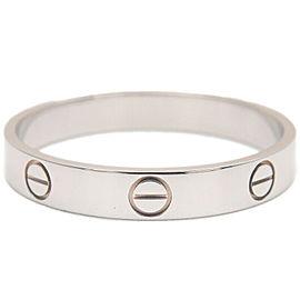 Authentic Cartier Mini Love Ring White Gold #63 US10.5 HK23.5 EU63.5 Used F/S
