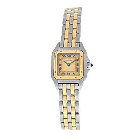 Ladies' Cartier Panthere Steel 18K Yellow Gold Two Row 22MM Quartz Watch