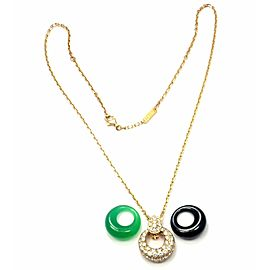 Van Cleef & Arpels 18k Gold Diamond Chalcedony Onyx 2 Extra Pendants Necklace